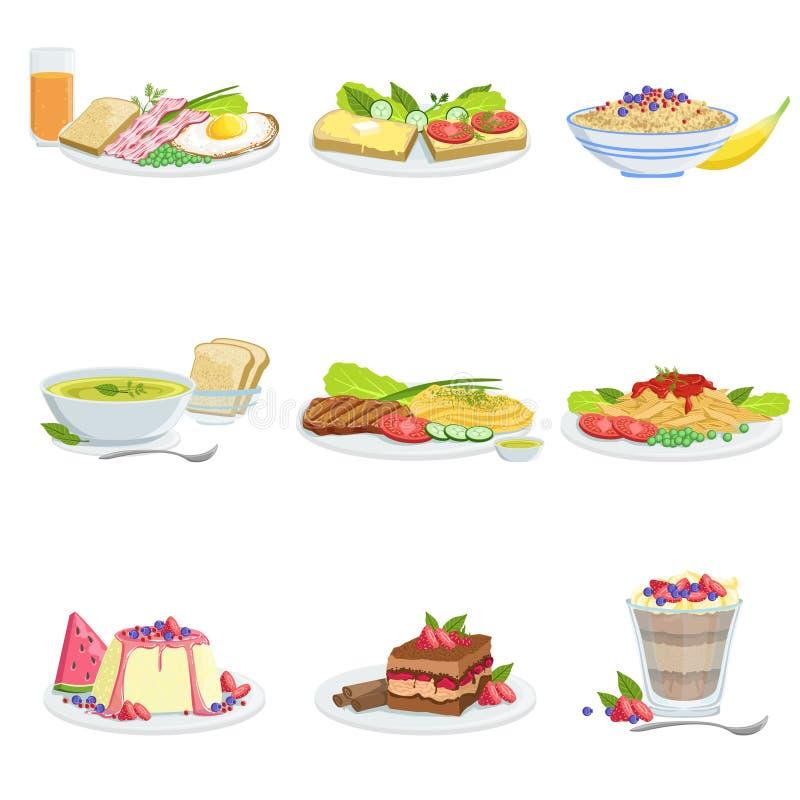 Europejskie kuchni naczynia asortymentu menu rzeczy Szczegółowe ilustracje royalty ilustracja