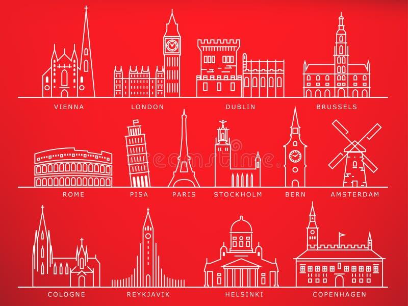 14 Europejskiego miasto punktu zwrotnego, Liniowy wektoru styl royalty ilustracja
