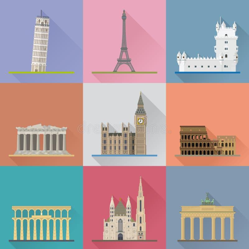 Europejskiego punktu zwrotnego Płaskiego projekta cienia wektoru Długa ilustracja ilustracja wektor