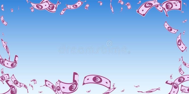 Europejskiego zjednoczenia euro notatek spada? Przypadkowy EUR rachunek ilustracji