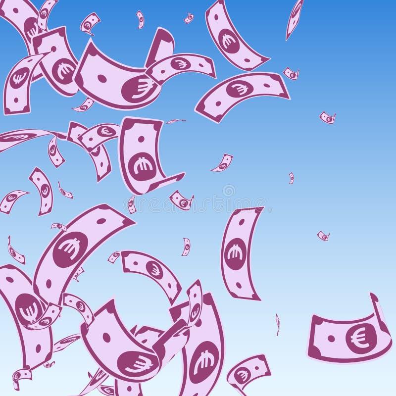 Europejskiego zjednoczenia euro notatek spada? Przypadkowy EUR rachunek ilustracja wektor