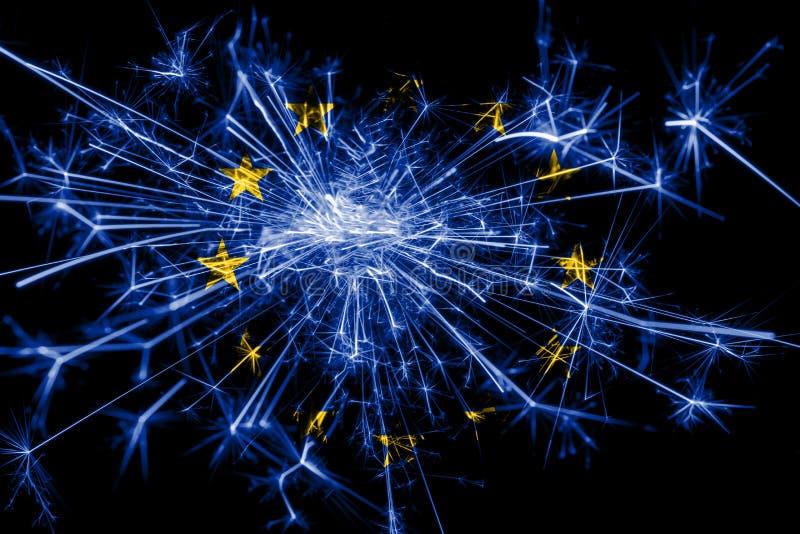 Europejskiego zjednoczenia fajerwerki błyska flaga Nowy Rok 2019 i przyjęcia gwiazdkowego pojęcie royalty ilustracja