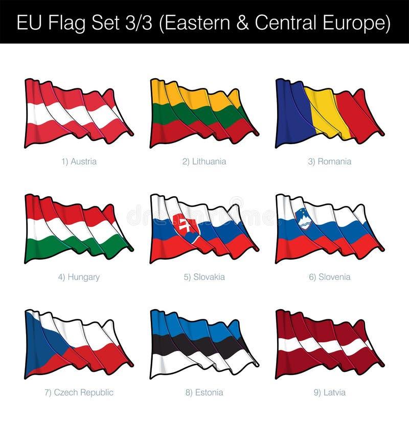 Europejskiego zjednoczenia falowania flaga Ustawiająca - Wschodni i Środkowy Europa ilustracja wektor