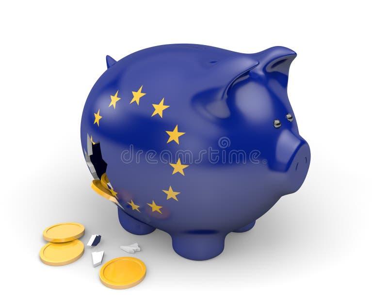Europejskiego zjednoczenia gospodarka i finanse pojęcie dla ubóstwa i długu royalty ilustracja