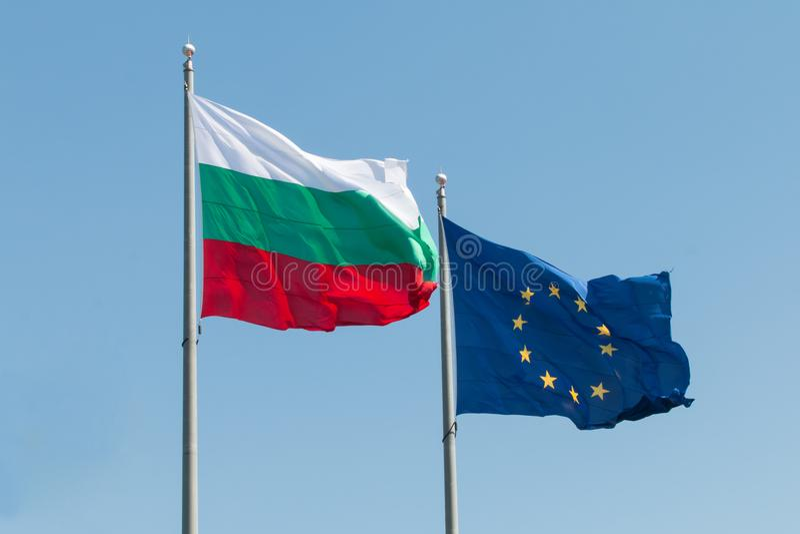 Europejskiego zjednoczenia i Bułgaria flaga obraz royalty free