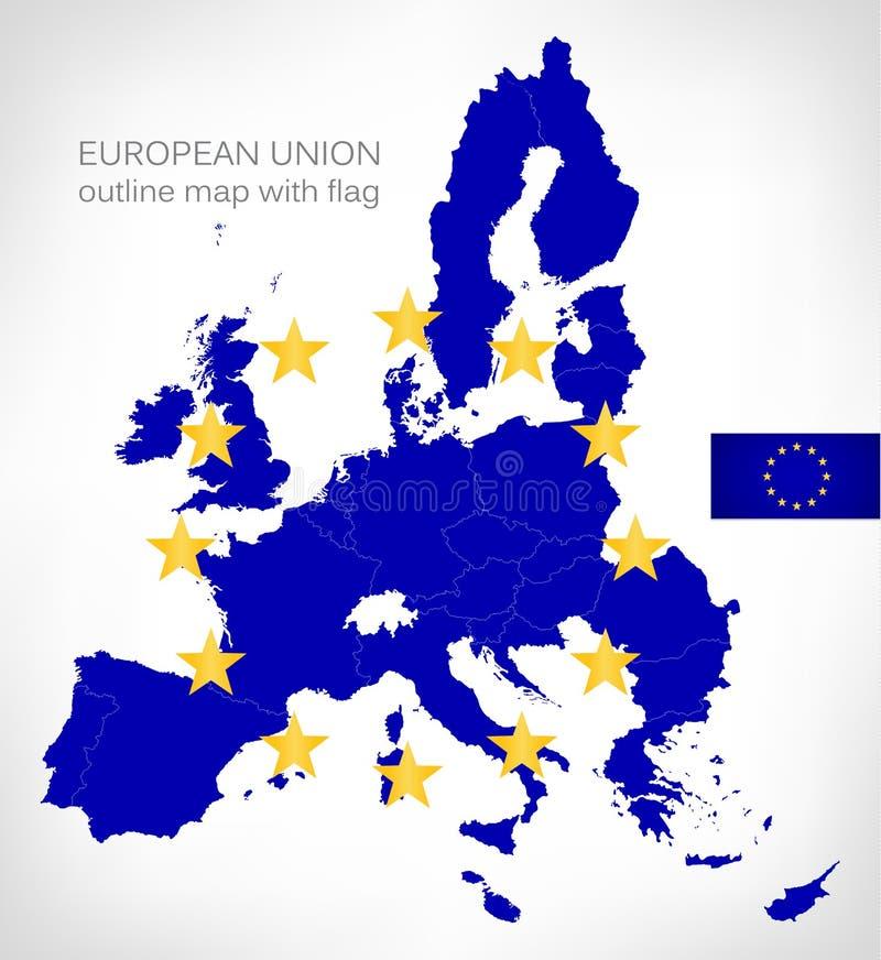 Europejskiego zjednoczenia konturu mapa z UE flaga ilustracji