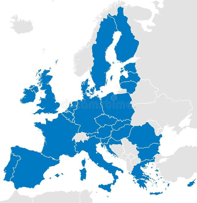 Europejskiego zjednoczenia krajów polityczna mapa ilustracja wektor