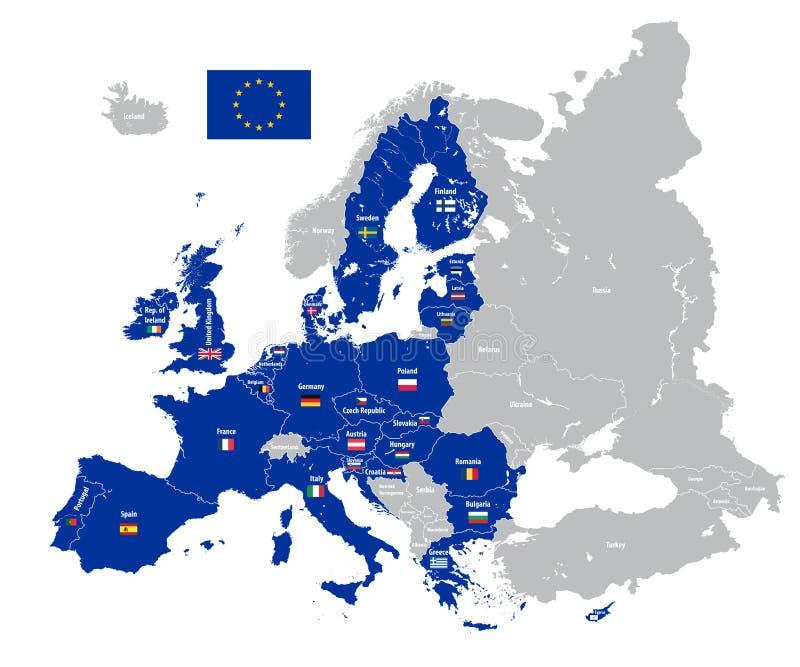 Europejskiego zjednoczenia mapa z kraj flaga ilustracja wektor