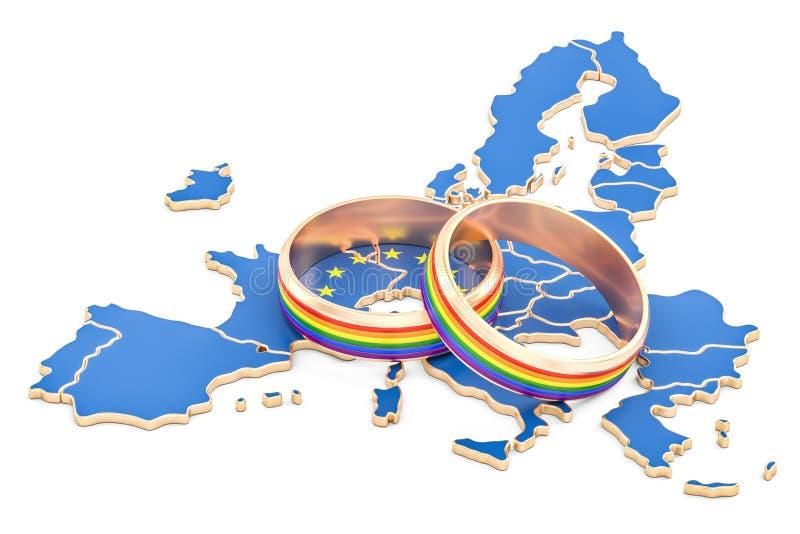 Europejskiego zjednoczenia mapa z LGBT tęczą dzwoni, 3D rendering ilustracja wektor