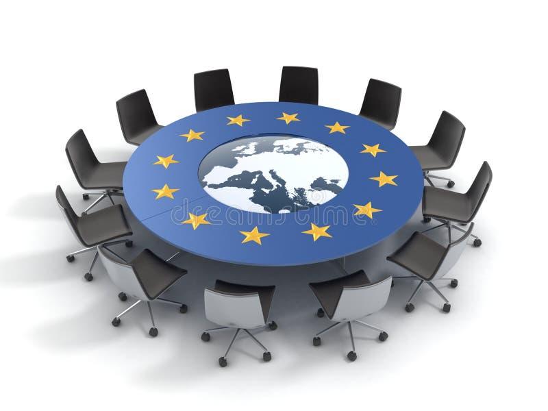 Europejskiego zjednoczenia okrągły stół royalty ilustracja