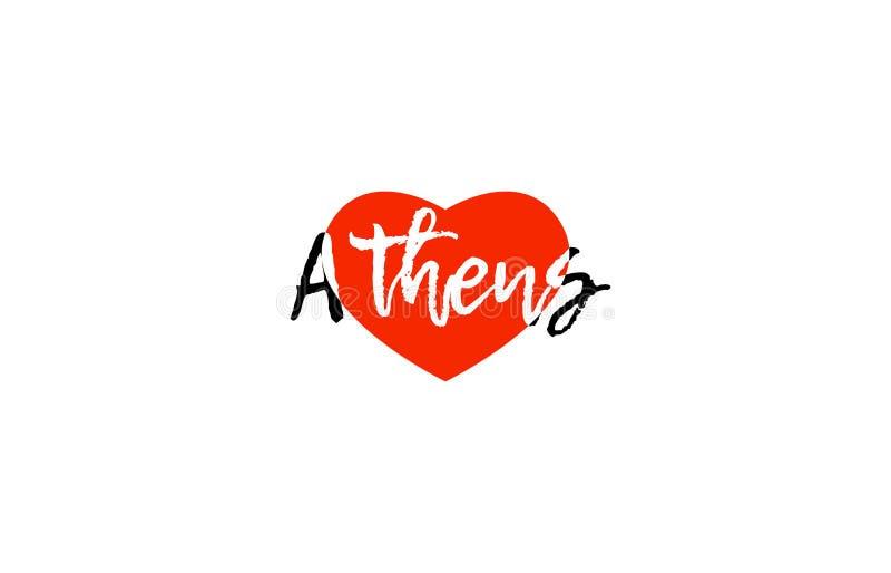 Europejskiej stolicy Athens miłości teksta loga kierowy projekt ilustracja wektor