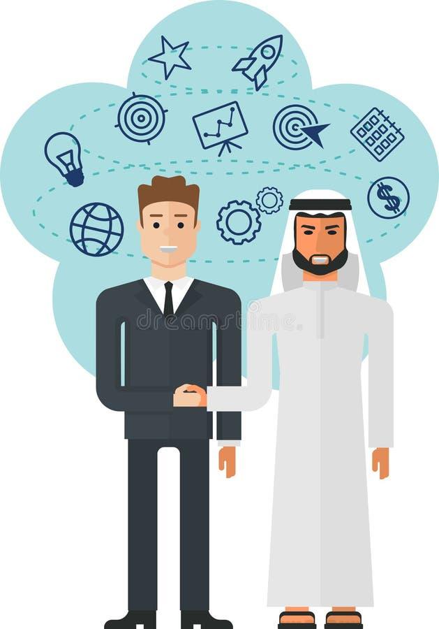 Europen y árabe ilustración del vector