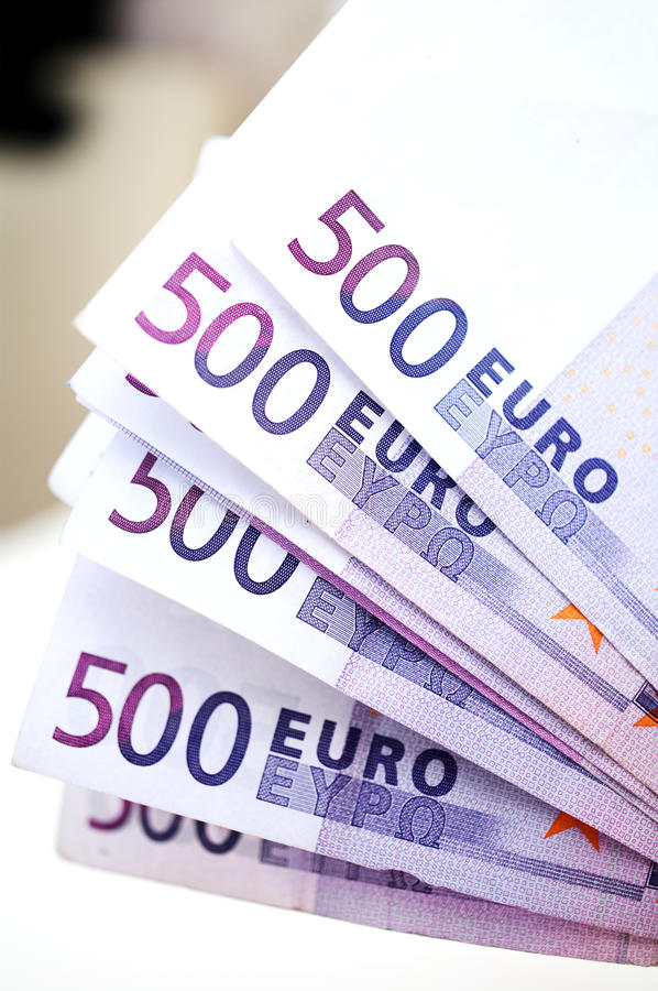 europengar för 500 sedlar royaltyfri bild