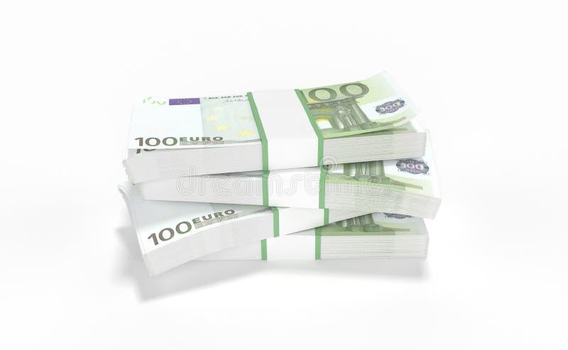 100 europengarlotter som bildar en hög som isoleras på vit bakgrund royaltyfri illustrationer