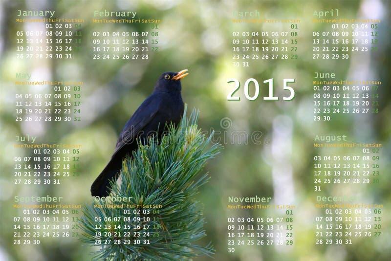 Europeo calendario de 2015 años con el pájaro negro libre illustration