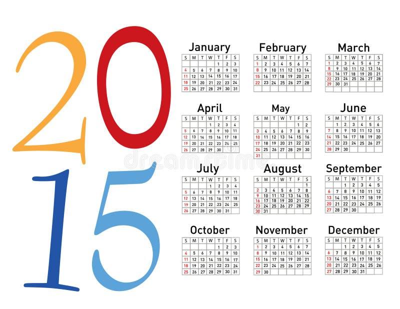 Europeo calendario di vettore di 2015 anni royalty illustrazione gratis
