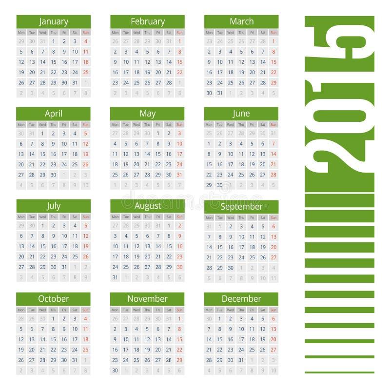 Europeo semplice calendario di vettore di 2015 anni royalty illustrazione gratis