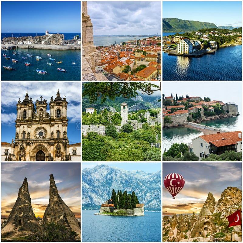 Europese de oriëntatiepuntenarchitectuur van de reiscollage stock afbeelding