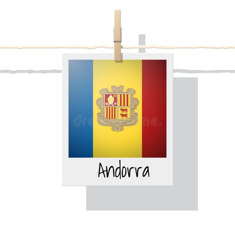 Europese de vlaginzameling van het land met foto van de vlag van Andorra royalty-vrije illustratie