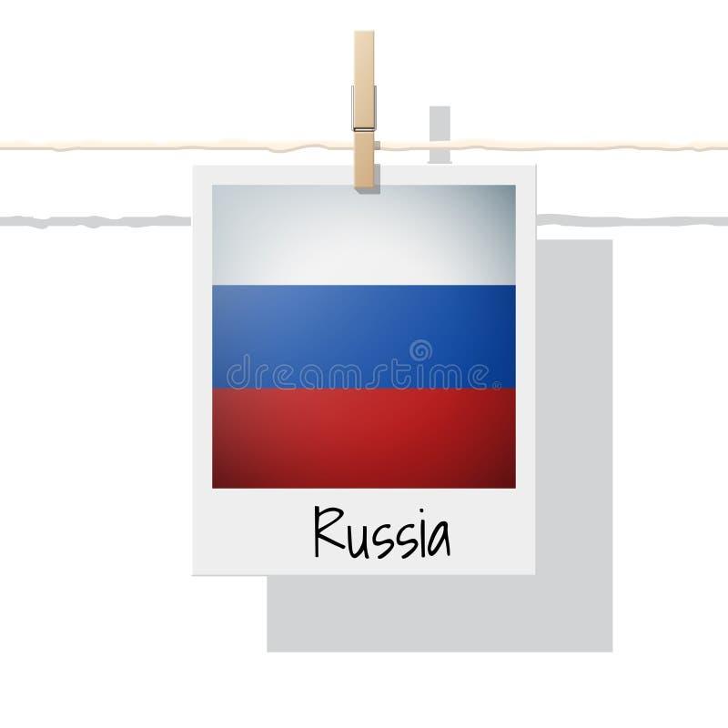 Europese de vlaginzameling van het land met foto van de vlag van Rusland stock illustratie