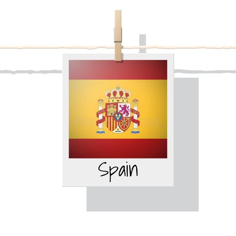 Europese de vlaginzameling van het land met foto van de vlag van Spanje vector illustratie