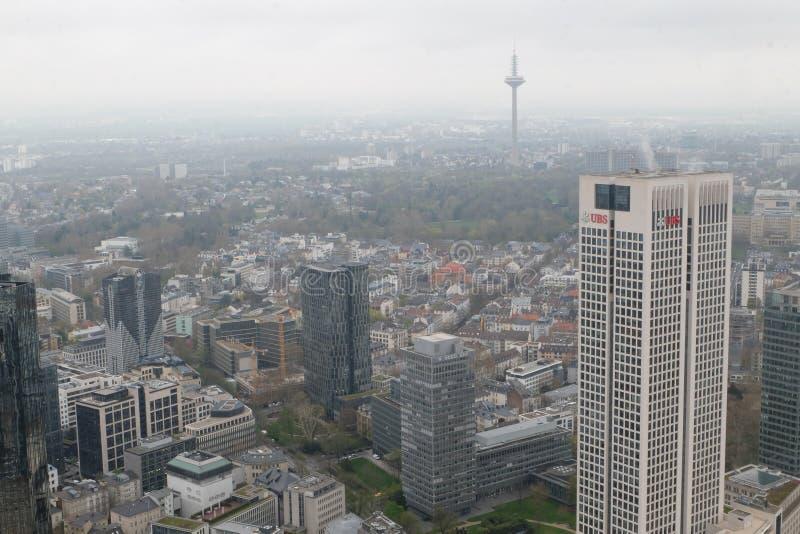 Europese het Hoofdkwartiertoren van UBS in Frankfurt stock foto