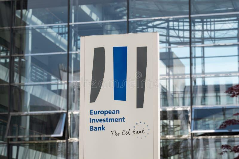 Europese Investeringsbankteken en Embleem - Landschap stock afbeelding