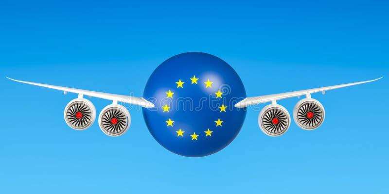 Europese luchtvaartlijnen en het vliegen ` s, vluchten aan de EU-concept 3d geef terug stock illustratie
