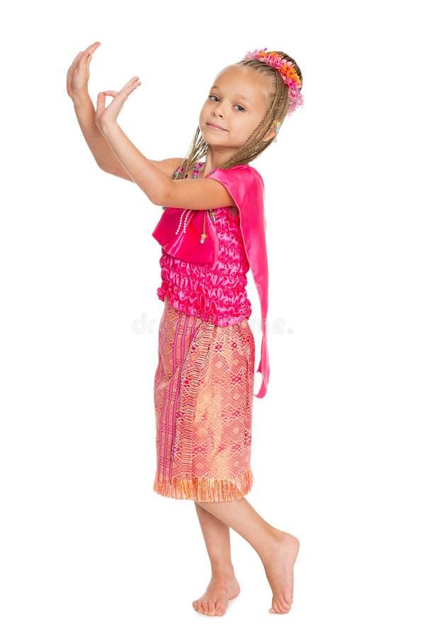 Europese meisje het dansen Thaise dans stock afbeelding