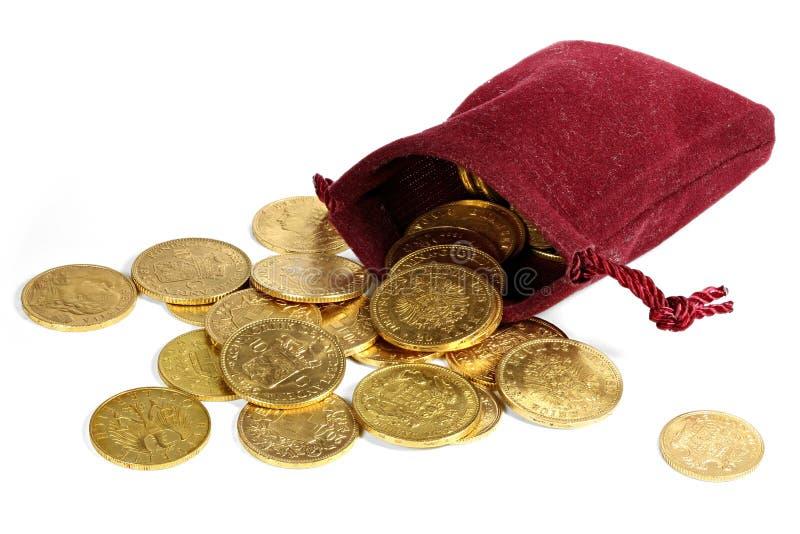 Europese omloop gouden muntstukken stock afbeeldingen