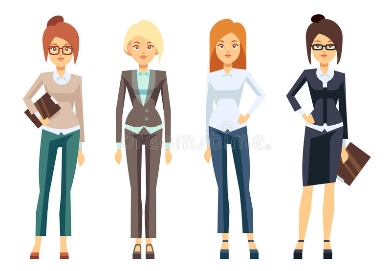 Europese onderneemsterkleren, jonge vrouwelijke professionele vrouwen vectorreeks royalty-vrije illustratie