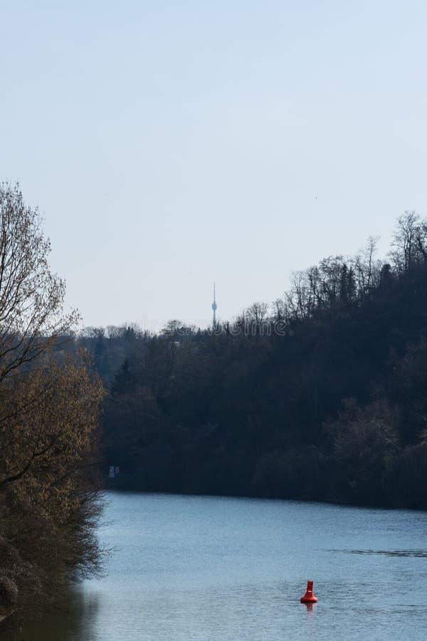 Europese Rivier Max Eyth See Stuttgart Vineyards Sunny Landscape royalty-vrije stock foto's