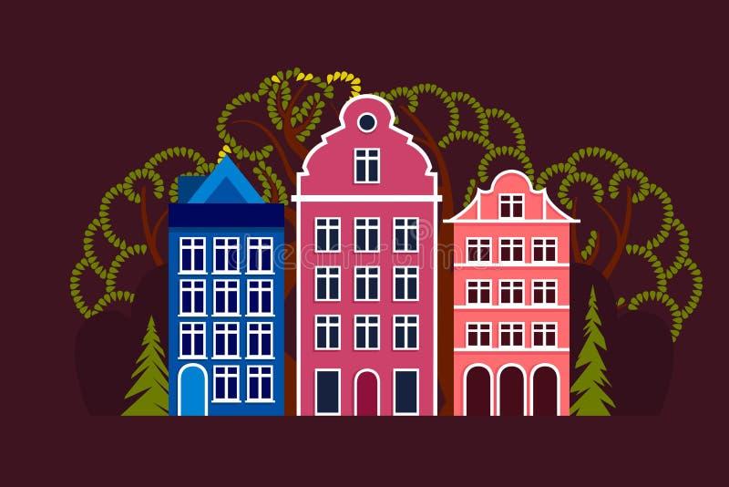 Europese stad Dag, de zomer, de herfst, de lente Stadsstraat met drie huizen, bomen vergankelijk en naald stock illustratie