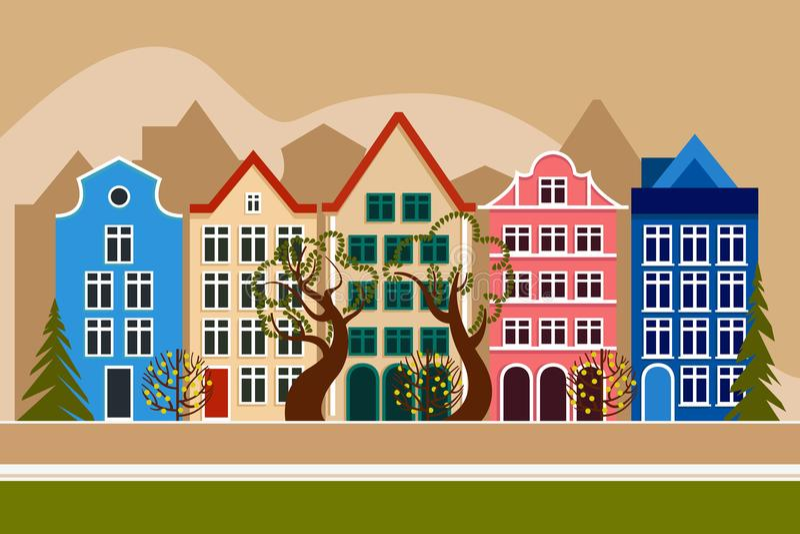 Europese stad in de bergen De daglente van de de zomerherfst Stadsstraat met vijf huizen, bomen vergankelijk en naald vector illustratie