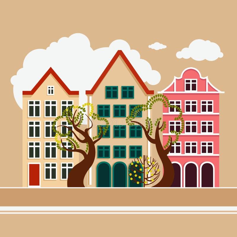 Europese stad De daglente van de de zomerherfst Stadsstraat met drie huizen, bomen vergankelijk en naald stedelijk milieu stock illustratie