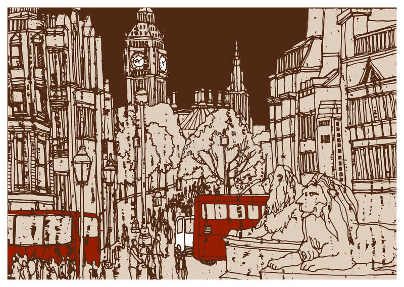 Europese stad Londen, kapitaal van Engeland royalty-vrije illustratie