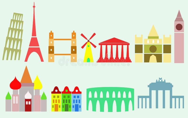 Europese steden vector illustratie