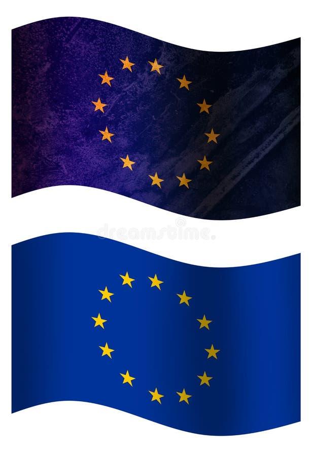 Europese Unie 3D vlag van het land, twee stijlen stock illustratie