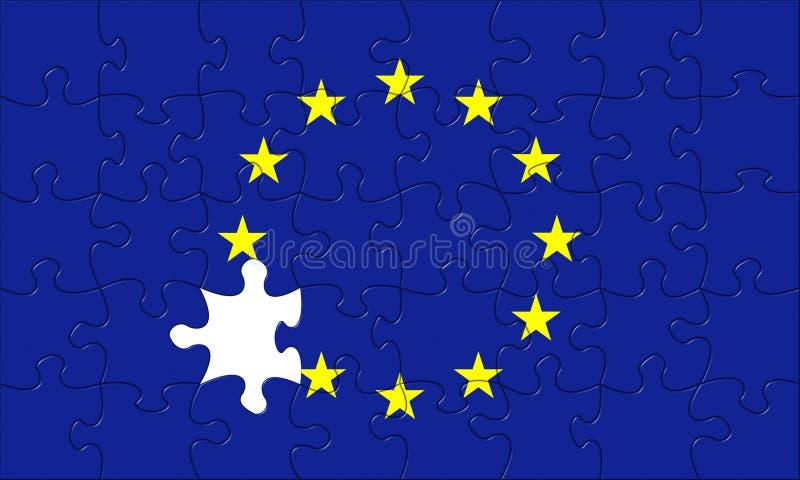 Europese Unie de crisis van de raadselfiguurzaag royalty-vrije illustratie