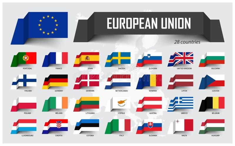 Europese Unie De EU en lidmaatschap Vereniging van 28 landen Het drijven document vlagontwerp op de kaartachtergrond van Europa V stock illustratie