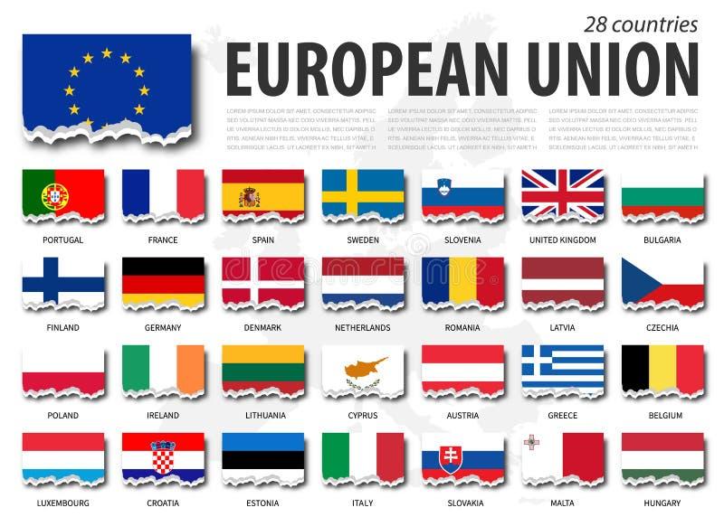 Europese Unie de vlageu en lidmaatschap Gescheurd document ontwerp De Kaartachtergrond van Europa Vector stock illustratie