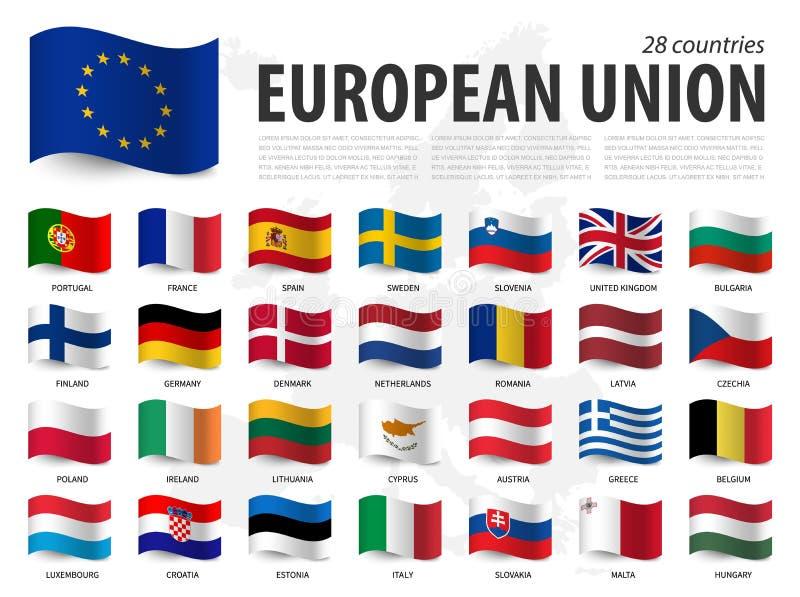 Europese Unie de vlageu en lidmaatschap op de kaartachtergrond van Europa Het golven vlagontwerp Vector stock illustratie