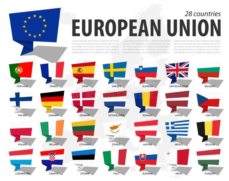 Europese Unie de vlageu en lidmaatschap op de kaartachtergrond van Europa Het ontwerp van toespraakbellen Vector royalty-vrije illustratie