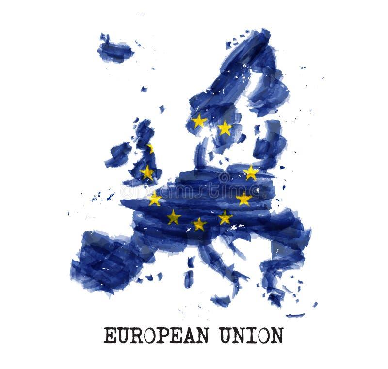 Europese Unie de waterverf van de vlageu het schilderen ontwerp De kaartvorm van het land Vector royalty-vrije illustratie
