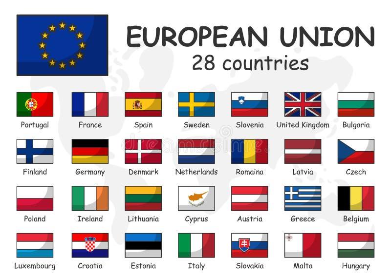 Europese Unie en lidmaatschapsvlag Vereniging van 28 landen Moderne eenvoudige het ontwerp en de krabbelwereldkaart van het beeld vector illustratie