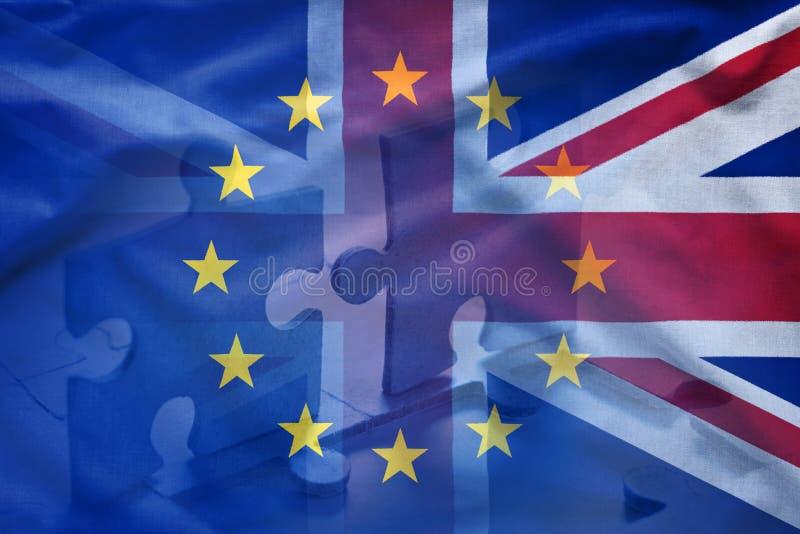 Europese Unie en van het Verenigd Koninkrijk raadselconcept stock afbeelding