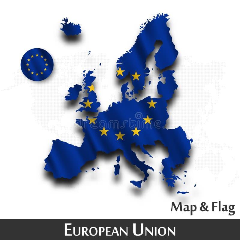 Europese Unie kaart en de vlageu Het golven textielontwerp De kaartachtergrond van de puntwereld Vector royalty-vrije illustratie