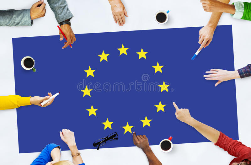 Europese Unie van de de Vlagnationaliteit van het Land de Cultuur Liberty Concept stock fotografie