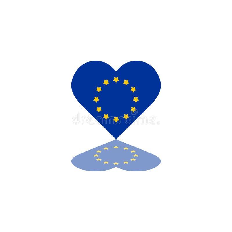 Europese Unie Vectorvlag binnen van de het elementenillustratie van de hartvorm grafisch het malplaatjeontwerp stock illustratie