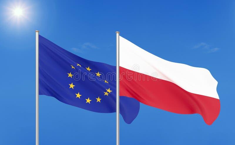 Europese Unie versus Polen Dik gekleurde zijdeachtige vlaggen van Europese Unie en Polen 3D illustratie op hemelachtergrond - vector illustratie